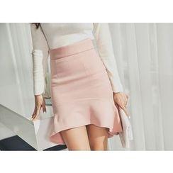 UUZONE - Dip-Back Miniskirt
