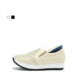 MODELSIS - Faux-Leather Perforated Slip-Ons