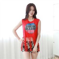 clubber - Frilled Hem Sleeveless Print T-Shirt