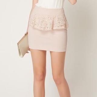 O.SA - Crochet Peplum Miniskirt