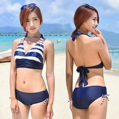 Lady J Swimwear - Set: Striped Bikini + Cover-Up