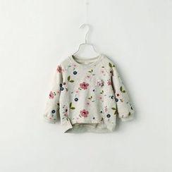 mina diva - Long-Sleeved Floral Print Fleece-lined Crewneck Plain Sweatshirt