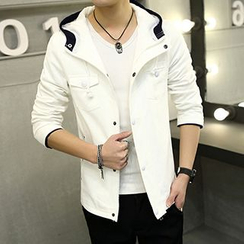 Evzen - Hooded Snap-Button Jacket