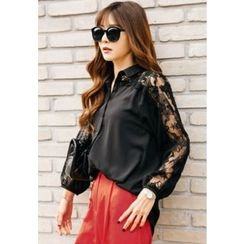 REDOPIN - Laced Sheer Sleeve Blouse
