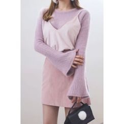 migunstyle - Bell-Sleeve Furry-Knit Top