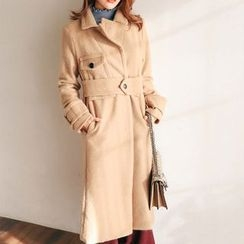 PPGIRL - Pocket-Detail Wool Blend Coat With Belt