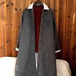 tete - Fleece-Lined Corduroy Button Coat