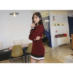 Envy Look - Contrast-Trim Knit Mini Dress