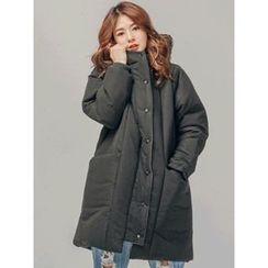 LOLOten - Hood Layered-Front Long Puffer Coat