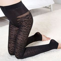 Meigo - Fleece Lined Lace Leggings