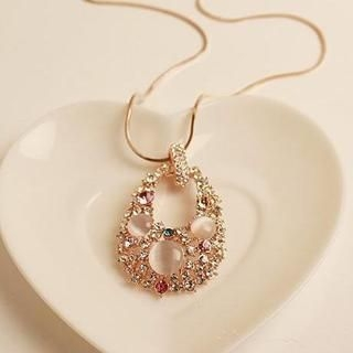 Love Generation - Rhinestone Teardrop Necklace