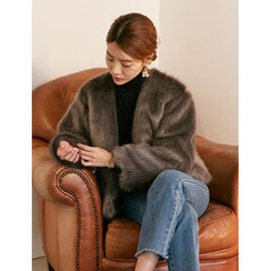FROMBEGINNING - Open-Front Faux-Fur Jacket
