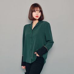 HOTPING - Notched-Lapel Contrast-Trim Blouse