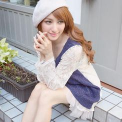Tokyo Fashion - Long-Sleeve Lace Panel Knit Top