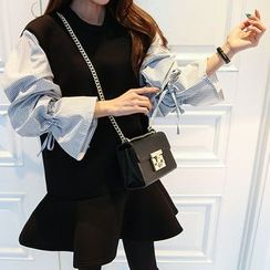 DABAGIRL - Stripe-Sleeve Neoprene Mini Dress