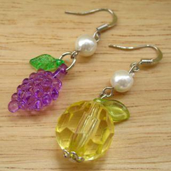 Fit-to-Kill - Colorful Lemon and grape with Pearl Earrings