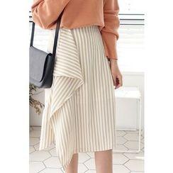 CHERRYKOKO - Drape-Front Stripe Skirt