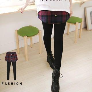 Tokyo Fashion - Inset Plaid Skirt Leggings