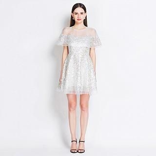 YiGelila - Cape-Collar Sequined Panel Dress