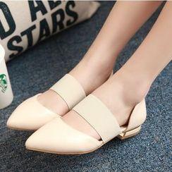 TULASI - 弹性带尖头平跟鞋