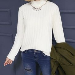 DANI LOVE - Mock-Neck Ribbed Sweater