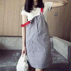 Cocofield - Pinstriped Denim Jumper Skirt