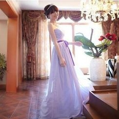 Luxury Style - Strapless Sweetheart Neckline Pleated A-Line Evening Gown
