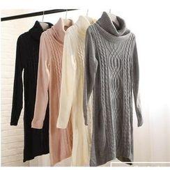 Pluvio - Turtleneck Cable Knit Sweater Dress