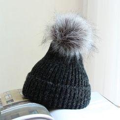 EVEN - Faux Fur Ball Beanie