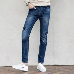 AMPO - Paint Splattered Patchwork Straight-Cut Jeans