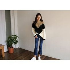 Hello sweety - Mock-Neck color-Block Sweater