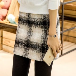 Munhome - Plaid Pencil Skirt