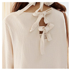 Sechuna - Ribbon-Back Textured Empire Dress