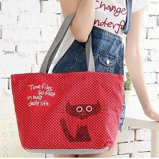 Miss Sweety - Cat-Print Canvas Tote