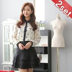 Styleberry - Set: Contrast Trim Print Blouse + Layered Mini Skirt