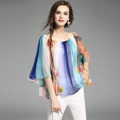 Y:Q - Color-Block Wide-Sleeve Silk Top