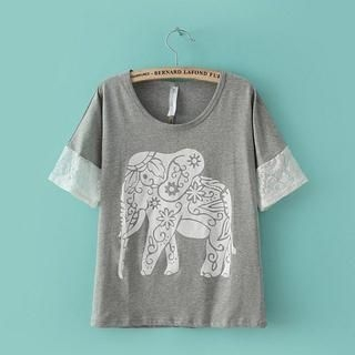 LULUS - Lace-Panel Elephant-Print Top