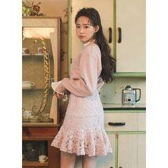 icecream12 - Ruffle-Hem Lace Mini Skirt