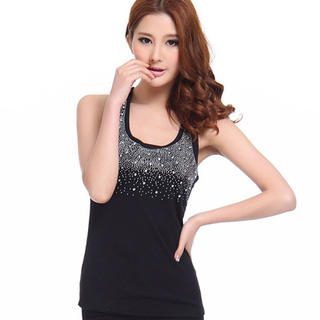 Ando Store - Rhinestone Crocheted-Panel Tank Top