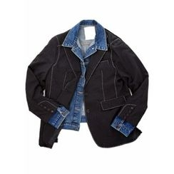 ssongbyssong - Denim Layered Striped Jacket