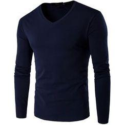 Fireon - Plain V-Neck Long-Sleeve T-Shirt