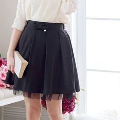 Tokyo Fashion - Bow Accent Pleated Skirt