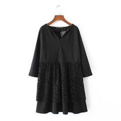 Chicsense - Lace-Panel A-Line Dress