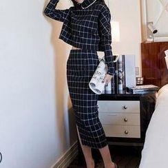 Hanyulin - Set: Check Cropped Top + Maxi Pencil Skirt