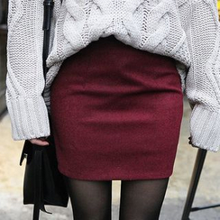 Seoul Fashion - Colored Zip-Back Mini Pencil Skirt