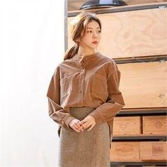 MAGJAY - Mandarin-Collar Corduroy Shirt