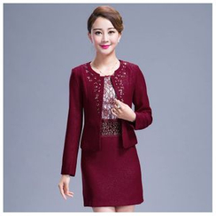 Angel Shine - Set: Short-Sleeved Lace Dress + Jacket