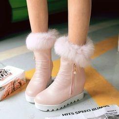 Pastel Pairs - Hidden Wedge Fluffy Trim Short Boots