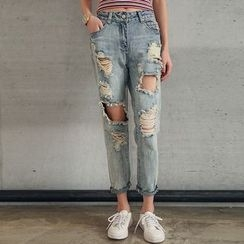 Woodie - Ripped Straight-Cut Washed Jeans
