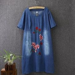 Blue Rose - Short-Sleeve Denim Dress